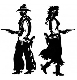 image for Cowboy & Cowgirl Pistols Drawn 2-Pc Wall Sculptures