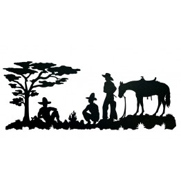 image for Cowboy Camp Western Wall Art Sculpture 42 x 17