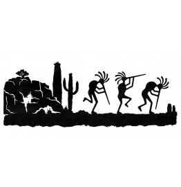 image for Kokopellies Dancing in Desert Southwestern Wall Art Sculpture 42 x 16