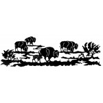image for Buffalo Bison Herd Southwestern Wall Art Sculpture 84 x 24