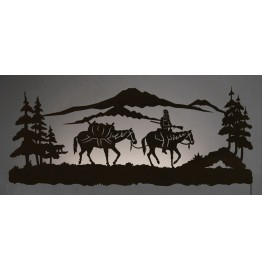 Cowboy Pack Horse Back-Lit Wall Art 42 inch