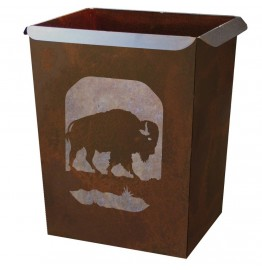 image for Buffalo Bison Southwest Motif Metal Waste Can
