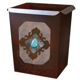 image for Turquoise Stone Accent Western Metal Waste Can