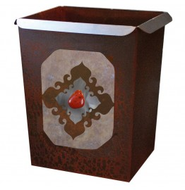 image for Red Jasper Stone Accent Western Metal Waste Can