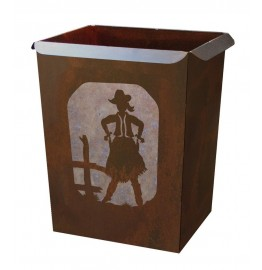 image for Cowgirl Draw Western Metal Waste Can