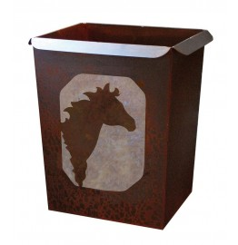 image for Horse Head Motif Metal Waste Can