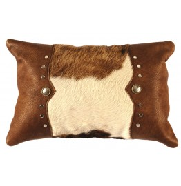 image for Brown & White Cowhide Leather Throw Pillow 12 x 18