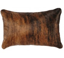 image for Western Brindle Cowhide Leather Throw Pillow 12 x 18
