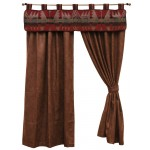 image for Yellowstone III Valance & Faux Leather Drapery Set 84 Long