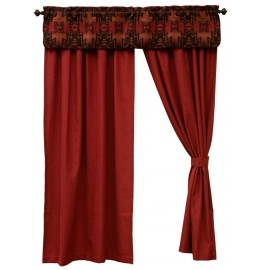 image for Luminaria Southwest Valance & Signal Ruby Red Drapery Set 84 Long
