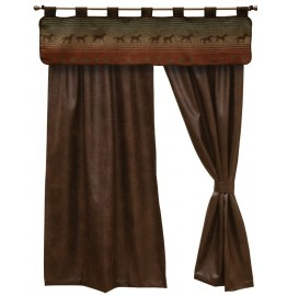 image for Mustang Canyon II Valance & Faux Leather Drapery Set 84 Long