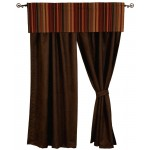 image for Bandera II Valance & Chocolate Suede Drapery Set 84 Long