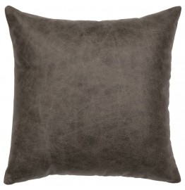 image for Saloon Gray Leather Throw Pillow 16 x 16
