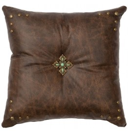 image for Turquoise Stone Cross Accent Leather Throw Pillow 16 x 16