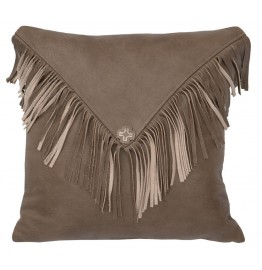 image for Silver Fox Fringed Flap Leather Throw Pillow 16 x 16