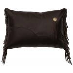 image for Yellowstone III Dark Chocolate Leather Pillow 12 x 18