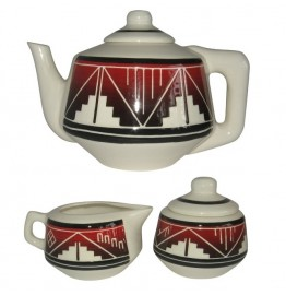 image for White Fire Teapot & Creamer Sugar Bowl Set