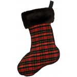 image for WR Plaid 1 Wool Blend & Faux Black Sable Fur Christmas Stocking