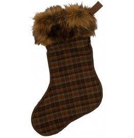 image for WR Plaid 6 Wool Blend & Faux Grizzly Bear Fur Christmas Stocking