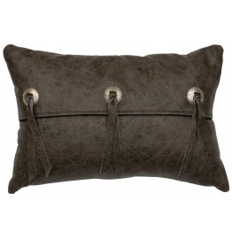 image for Concho Accent Saloon Grey Leather Throw Pillow 12 x 18