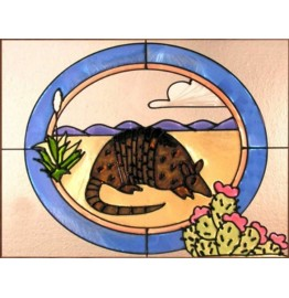 image for Armadillo Framed Art Glass Suncatcher Panel 11 x 14