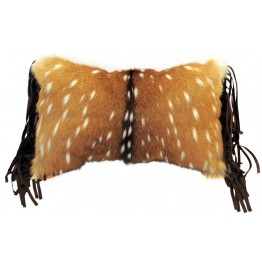 image for Leather Fringed Axis Chital Deer Hide Accent Pillow 16 x 12