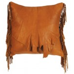 image for Tan Deer Skin Leather Throw Pillow 16x16