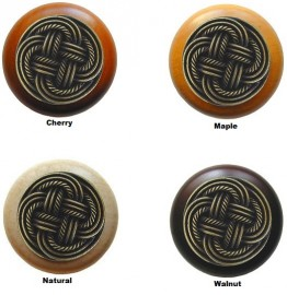 image for Basketweave Antique Brass & Wood Knob 1.5 inch