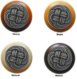 image for Basketweave Antique Pewter 1-1/2 Wood Knob