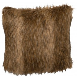 image for Rustic Faux Coyote Fur Throw Pillow 18 x 18