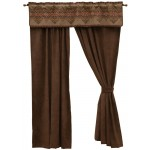 image for Bison Ridge Southwest Valance & Espresso Microsuede Drapery Set 84 Long
