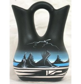 image for Black Mountain Storm Mesa Pottery Wedding Vase 8 x 5.5