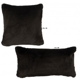 image for Black Sable Faux Fur Throw Pillow Set of 2