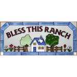 image for Bless This Texas Ranch Art Glass Panel 20 x 9