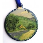 image for Country Bluebonnets Scene Pottery Christmas Ornament