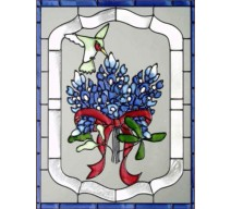 image for Bluebonnets & Hummingbird Framed Art Glass Panel 11 x 14