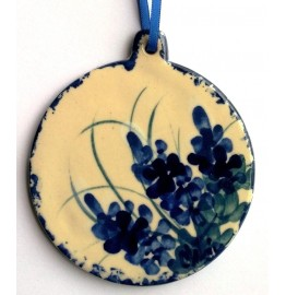 image for Bluebonnet Flowers Hand Painted Pottery Christmas Ornament