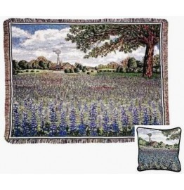 image for Texas Bluebonnets Tapestry Throw & Pillow Set