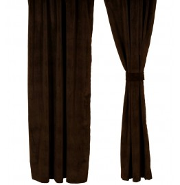 Bon Bon Dark Chocolate Velvet Suede Drapery Set 84 Long