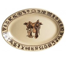 image for Boots & Saddle Western Oval Serving Platter 16 inch