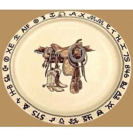 image for Boots & Saddle Western Round Serving Platter 14 inch