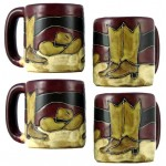 image for Boots & Hat 4-Pc Mara Stoneware Mugs 16-oz