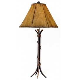 image for Braided Iron Rod Western Table Lamp & Faux Leather Shade 32""