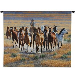 image for Bringing Them In Western Wall Tapestry & Rod 34 x 26