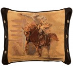 image for Tapestry Bronc Rider & Leather Throw Pillow 16 x 20