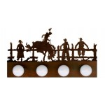 image for Bronc Rider Western Scene Vanity Light Bar 4 bulb
