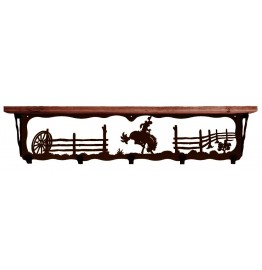 image for Bronc Rider 34 inch Western Wall Shelf (hooks avail)