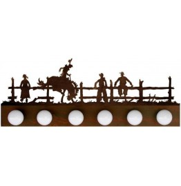 image for Bronc Rider Western Scene Vanity Light Bar 6 bulb