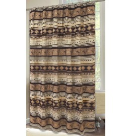 image for Brown Mustang Horses Chenille Fabric Western Shower Curtain