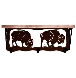 image for Buffalo Grazing Southwest 20 inch Wall Shelf (hooks avail)